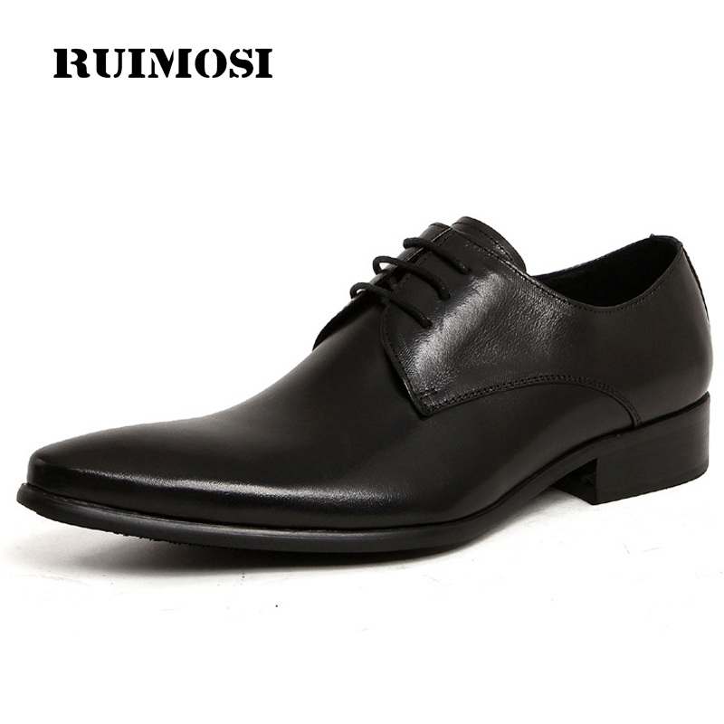 RUIMOSI New Arrival Italian Designer Man Bridal Dress Shoes Genuine Leather Wedding Oxfords Pointed Derby Men's Footwear YD32
