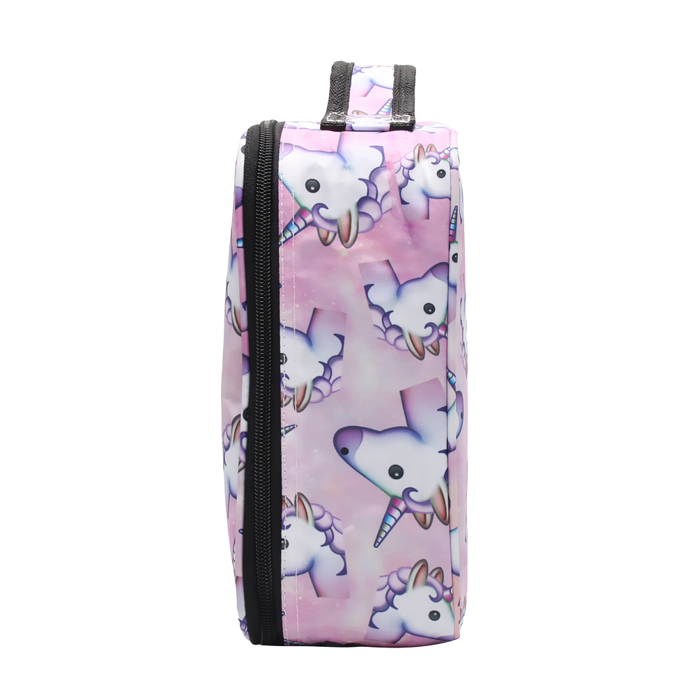 FCCEXIO New Cosmetic Bag Pink Unicorn Print Makeup Bag Travel Organizer Beauty Case Toiletry Bag Bath Wash Adjustable Makeup Box in Cosmetic Bags Cases from Luggage Bags