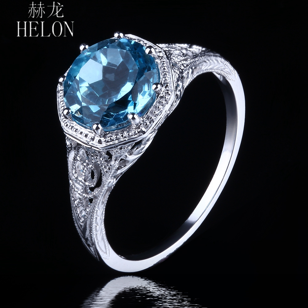 HELON Sparkled Hot Certified Round 8mm Blue Topaz Engagement Ring Solid 14K White Gold Ring For Women Solitaire Vintage JewelryHELON Sparkled Hot Certified Round 8mm Blue Topaz Engagement Ring Solid 14K White Gold Ring For Women Solitaire Vintage Jewelry