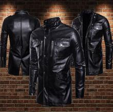 Business Leisure Multi-pocket motorcycle leather jacket men Stand collar loose pu clothes mens jackets and coats biker