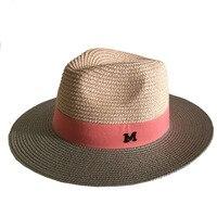 Fashion summer straw big sun hat color patchwork women M letter panama hat/trilby beach hats