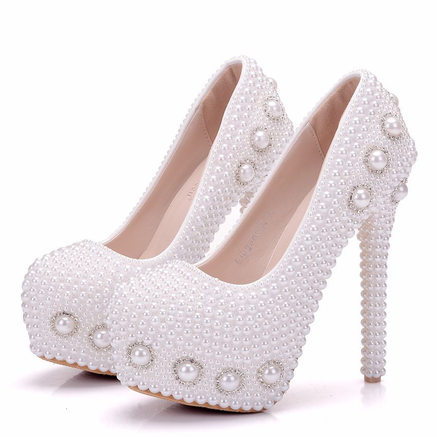 Tacón Blanco Diamantes Imitación Boda Banquete Perla Con De Alto Tacones Bien Dulce Zapatos Gran Dama Tamaño xw4Pqf6vE