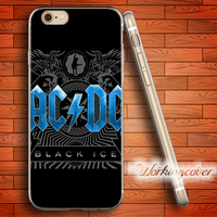 Capa Ice AC DC Music Band ACDC Soft Clear TPU Case For IPhone 6 6S 7