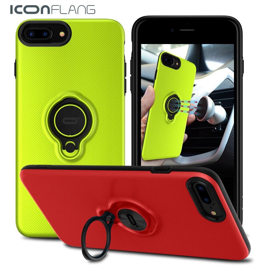 Новое Кольцо Чехол для iPhone7, 360 Поворот Кольцо телефон чехол для iphone 7 7 Плюс крышки мобильного телефона по ICONFLANG