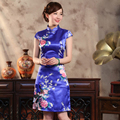 Fashion Blue Chinese Women Dress Silk Rayon Cheongsam Qipao Knee Length Dress Flower Vestido De Festa Plus Size S To XXXL 011401