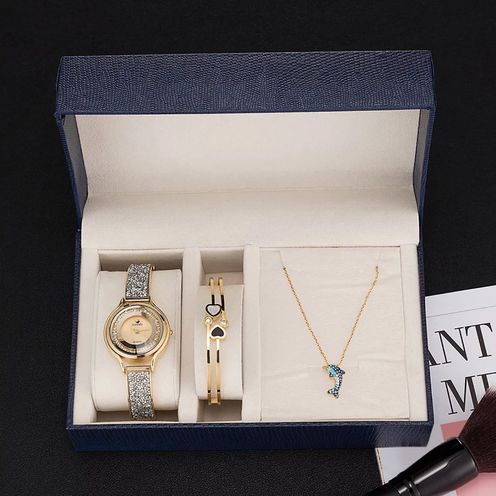 3 Pcs set Watches Women Flow Sand Diamond Bracelet Watch Necklace,Bracelet Stainless Steel bangle watches Sets with Gift Box3 Pcs set Watches Women Flow Sand Diamond Bracelet Watch Necklace,Bracelet Stainless Steel bangle watches Sets with Gift Box