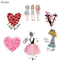 Prajna Love Patches Iron On Princess Pink Romantic Iron On Transfer Kiss Stickers Clothing DIY Stripe On Clothes T-shirt Woman(China)