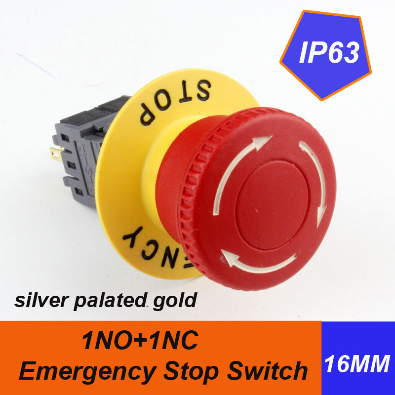1pcs packing HABOO dia.16mm mushroom head emergency s push button switch 1NO+1NC with label 5A 250V shipping free