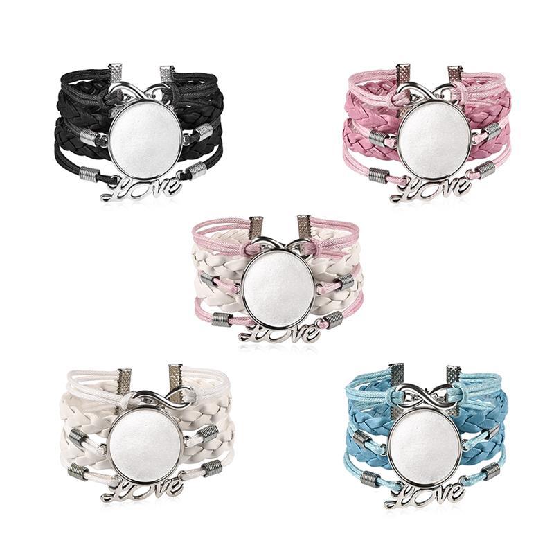 5pcs/Lot Woven Leather Bracelet Bangle Blank Base Fit 25 18mm Glass Cabochon Gems Setting Bezel Tray DIY Jewelry Making Findings