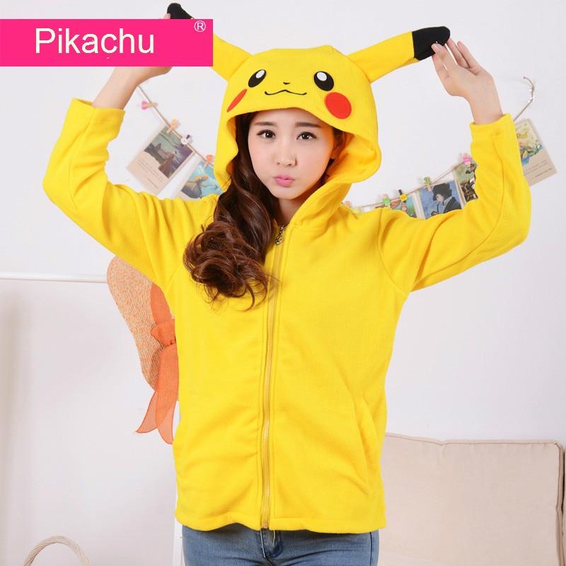 €24.44 |Cartoon Pokemon Pikachu femmes hommes veste à capuche à fermeture éclaire jaune capuche avec oreille polaire hiver capuche blouson à capuche