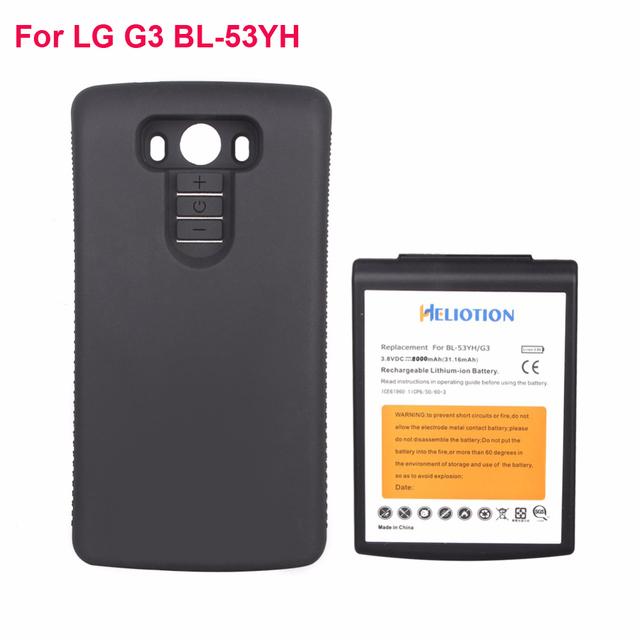 Alta capacidad de 8000 mah batería de reemplazo extendido + negro cubierta de la caja protectora para lg g3 bl-53yh/d850/vs985 heliotion marca nueva