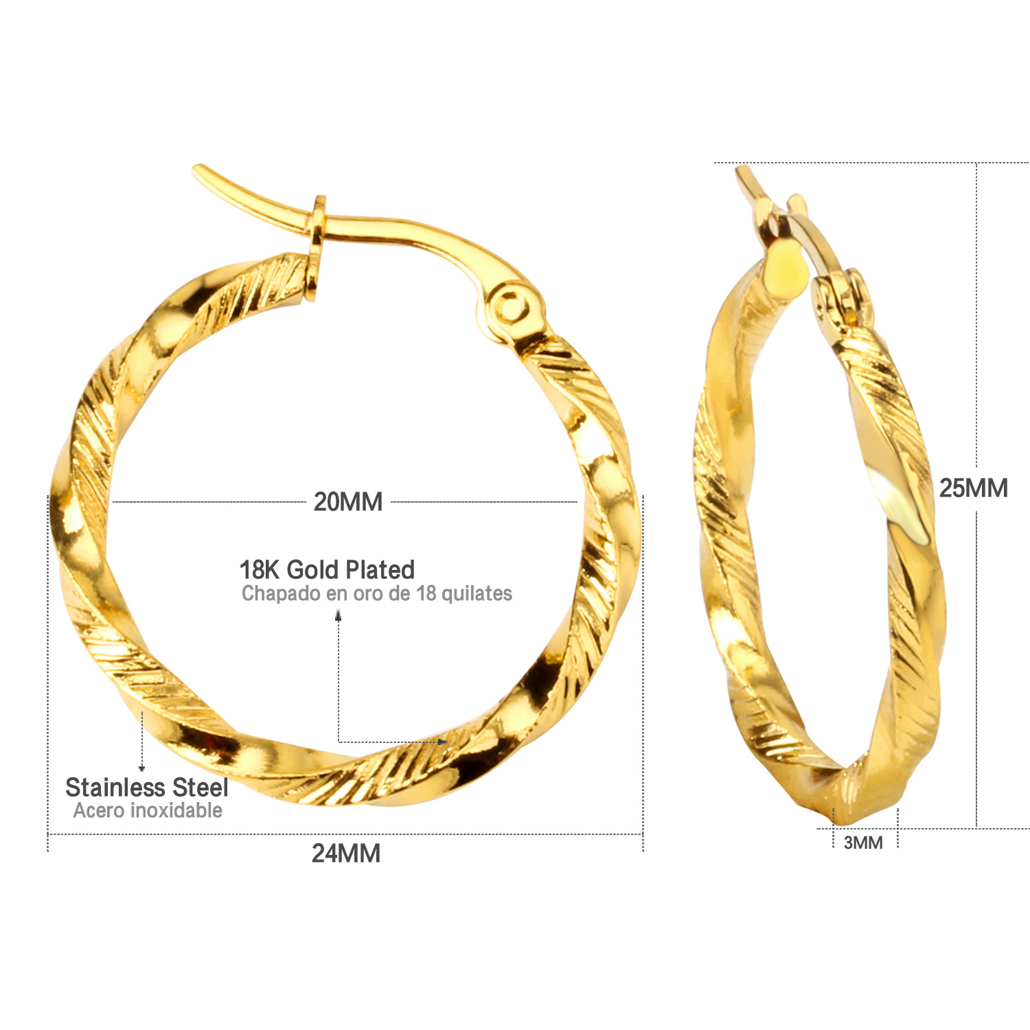com diameter stainless plated jewellery amazon earrings hoop yellow gold steel dp stunning jewelry