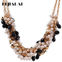 KEJIALAI Hot Selling Fashion Brand Luxury Temperament Wild Crystal Multi Layer Imitation Pearl Knitting Woman Necklace QD N3464