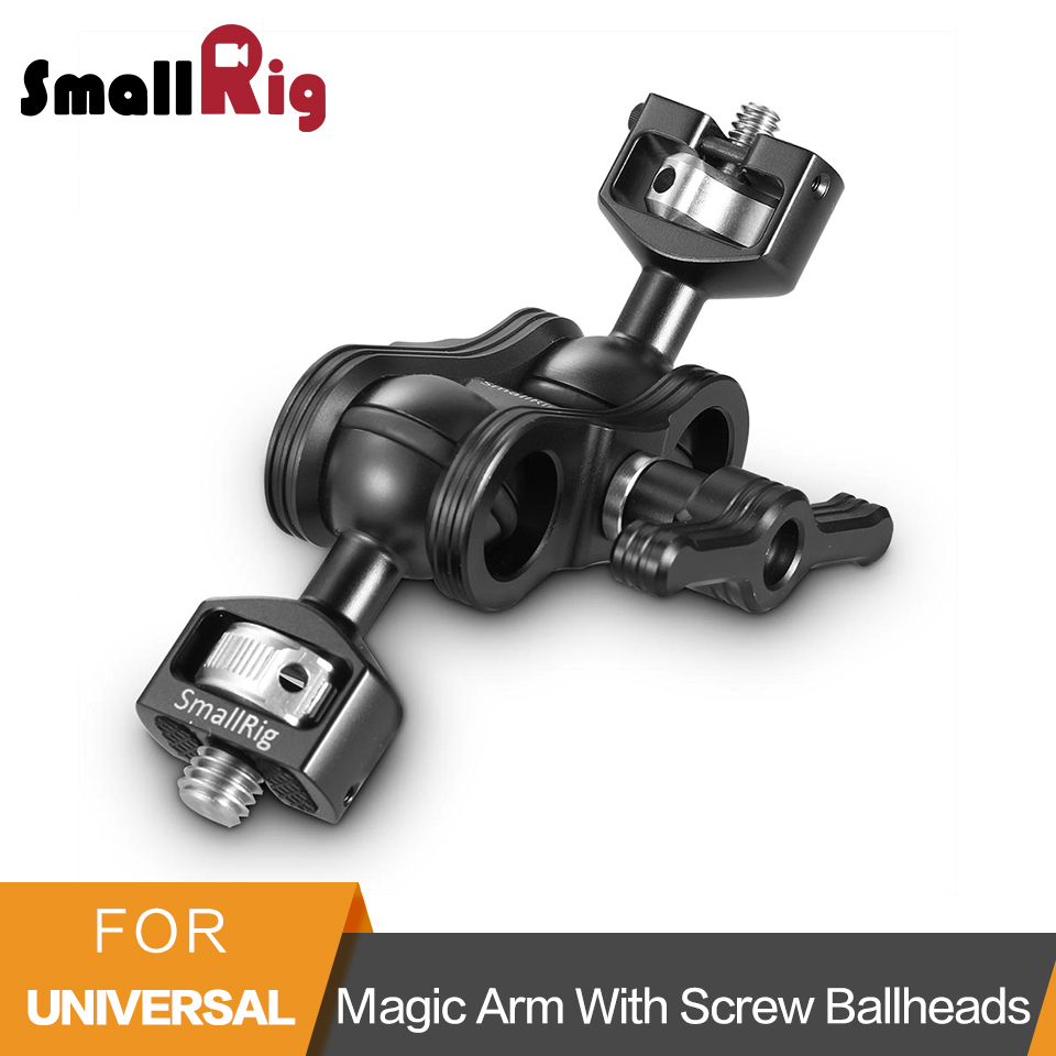SmallRig Adjustable Friction Articulating Magic Arm with Double Ballheads (1/4and 3/8Screws) For DSLR Camera Cage -2212 smallrig dual aluminum camera articulating arm ballhead extension bar for magic arms 1 4 screws dslr monitor support 2109