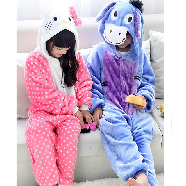 Children Pajamas Character Cat Donkey Winter Warm Soft Kids One ...