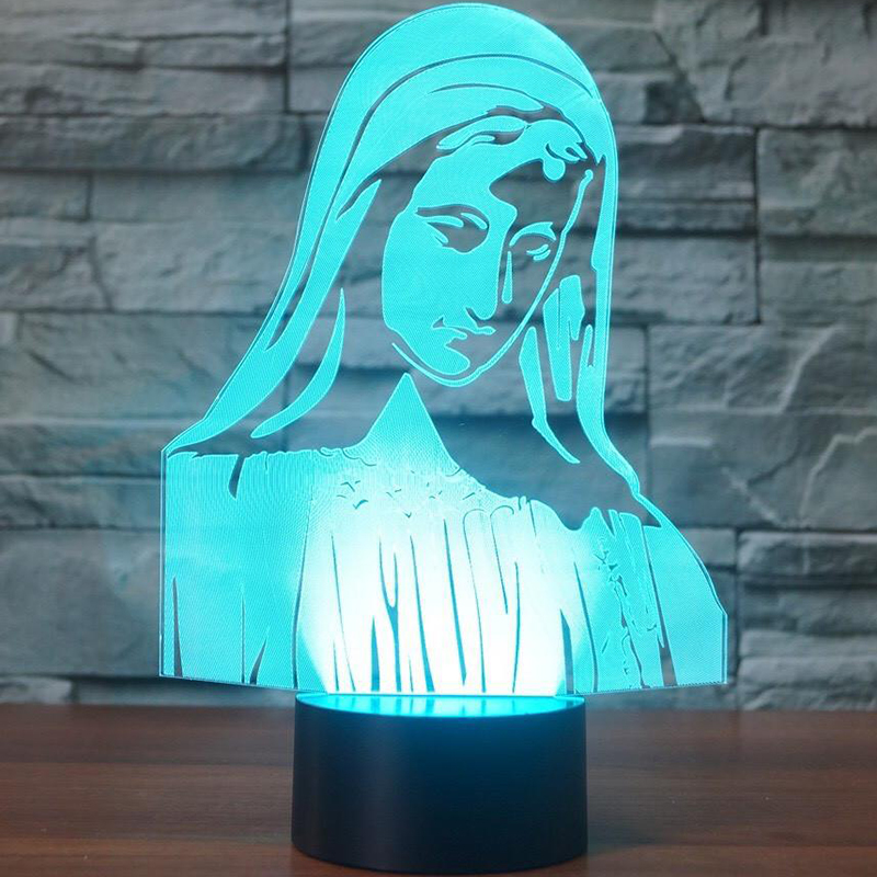 Новинка Девы Марии светодиодный ночник 7 цветов Изменение 3D настольная лампа для детей Подарки Спальня прикроватной тумбочке сна светильни...