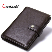 Contact's Genuine Leather Wallet Men Coin Purse Male Clutch Credit Card Holder Passport Cover Organizer Wallet Travel Money Bag