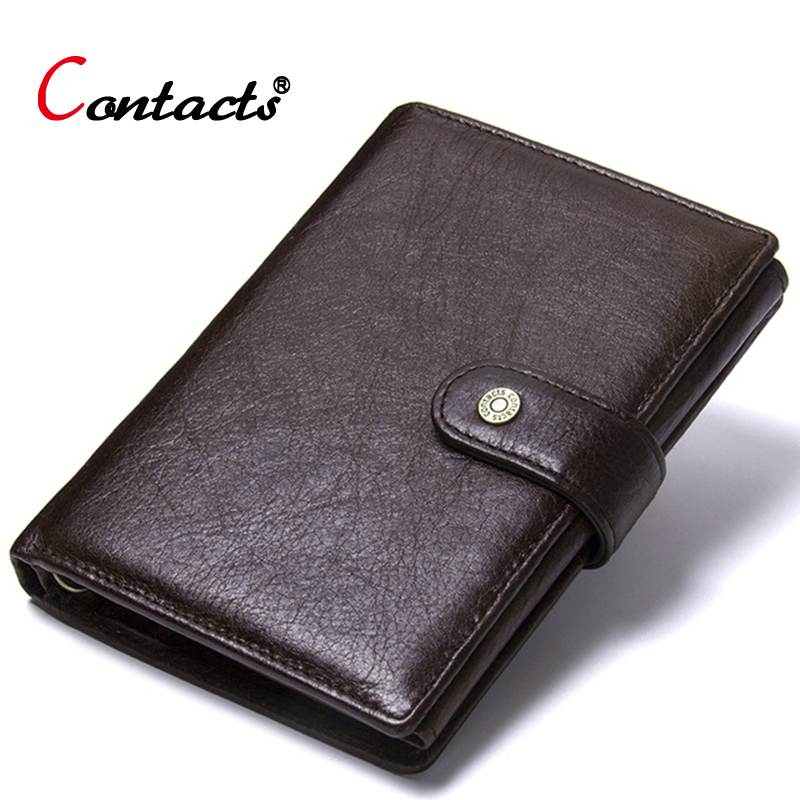 Contact's Genuine Leather Wallet Men Coin Purse Male Clutch Credit Card Holder Passport Cover Organizer Wallet Travel Money Bag цены онлайн