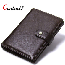 Contact's Genuine Leather Wallet Men Coin Purse Male Clutch Credit Card Holder Passport Cover Organizer Wallet Travel Money Bag women wallet passport case cover wallet multicolor men zipper purse travel storage bag organizer bag card holder