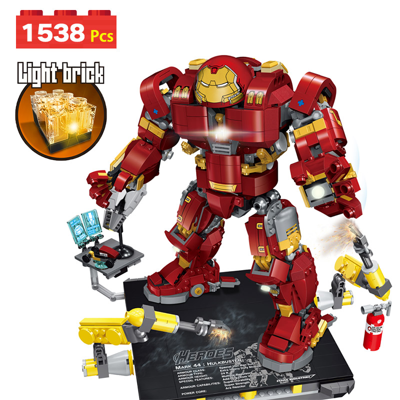 New Marvel Super Hero Avengers Compatible LegoINGLYs Iron Man 3D Light Technic Blocks Building Blocks Designer Movie Toy For Boy 2017 hot compatible legoinglys marvel super hero avengers iron man mk series building blocks deformation armor brick toys gift