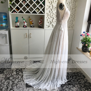 Image 4 - Mryarce 2019 Boho Chic Wedding Dresses Spaghetti Straps Twist Lace Chiffon A Line Open Back Bohemian Dress Bridal Gown