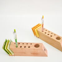Multi Functional Wooden Desk Organizer Creative Modern Style Pen Container Card Holder Eco Natural Wood Office