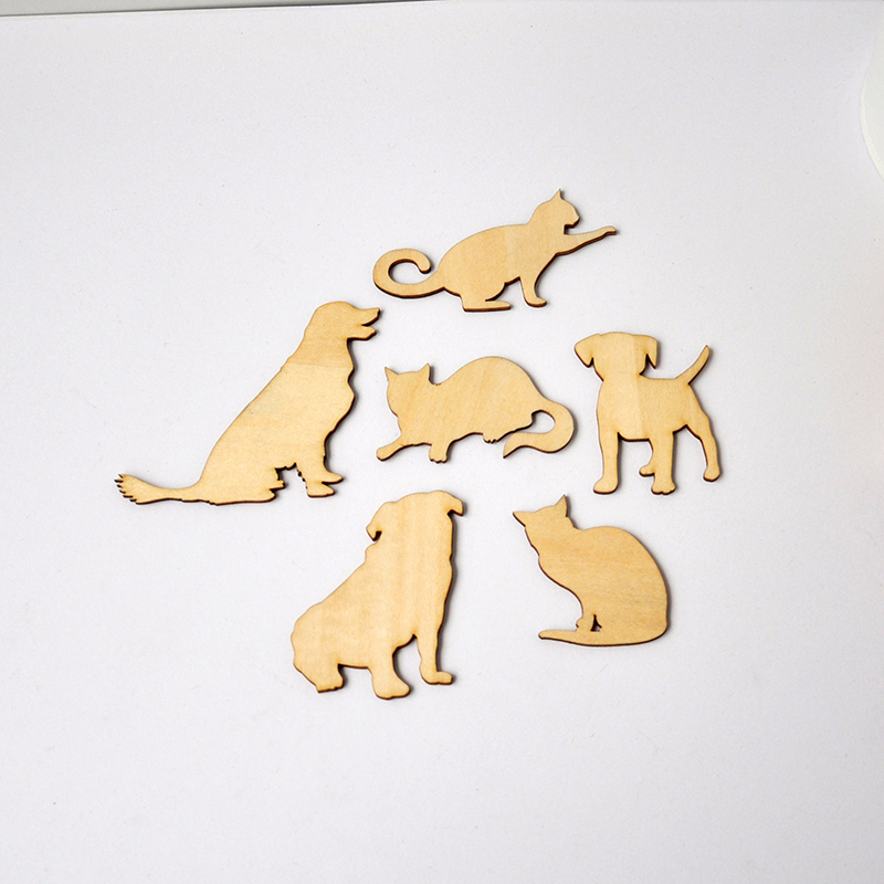 QITAI 48 Pcs/Lot Cute Anminal Shape Wooden Decor Laser Cut Wooden Shapes Cats And Dogs Wedding Home Shop Decoration Gift Wf244