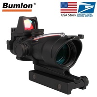 US Stock ACOG 4x32 Optics Sight with RMR Red Dot Red Green Fiber Duel Illuminated Riflescope Airsoft For Hunting RL6 0006/58