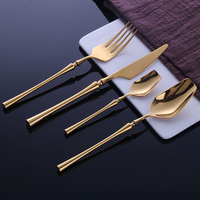 24 Pcs Stainless Steel Tableware Gold Cutlery Set Knife S poon and Fork Set Dinnerware Korean Food Cutlery Kitchen Accessories|Dinnerware Sets| |  -