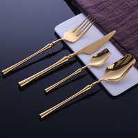 24 Uds vajilla de acero inoxidable juego de cubiertos de oro juego de cuchillos cuchara y tenedor vajilla cubiertos de comida coreana accesorios de cocina