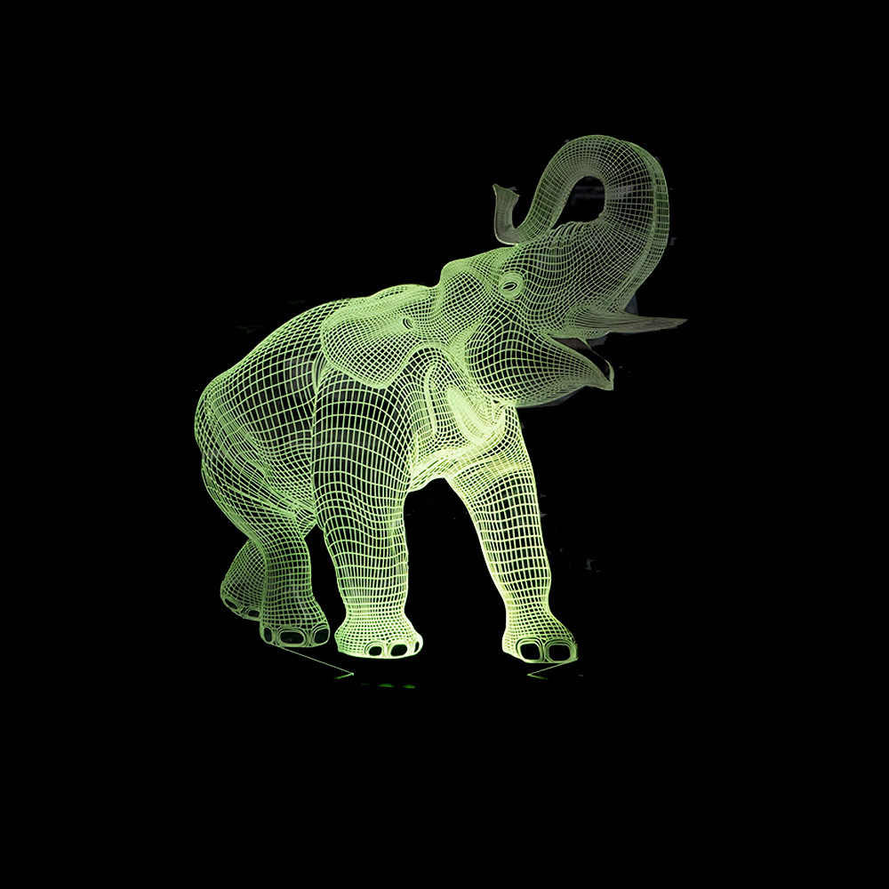 Amazing Elephant 3D Illusion LED Night Light with 7 Colors Light for Home Decoration touch USB Table Lamp baby Bedroom Gift big promotion magic colorful led table lamp creative 7 colors bed light bedroom sleeping led night lights for decoration gift
