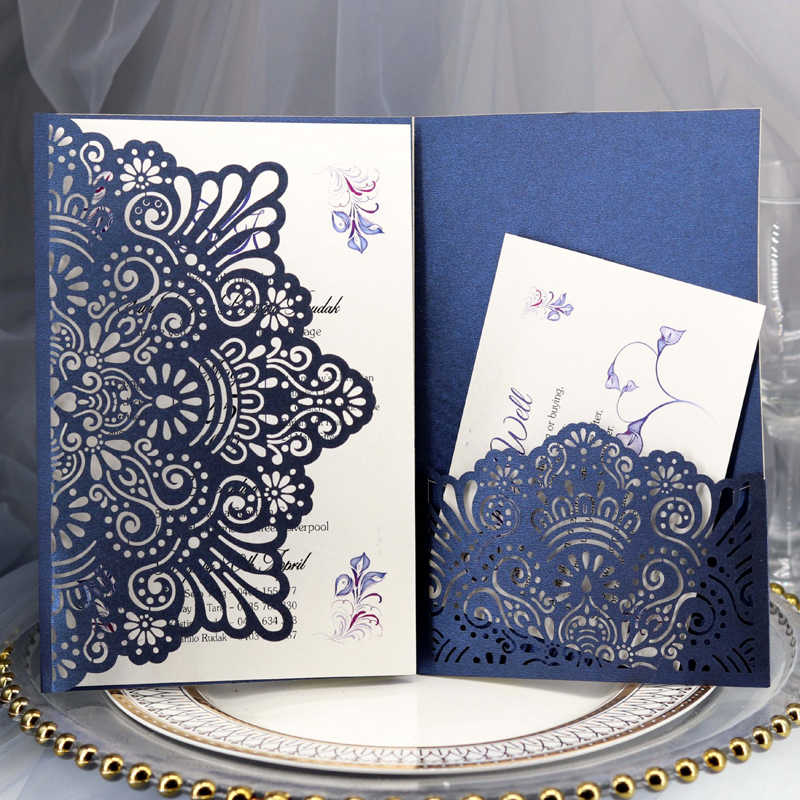 1pcs Elegant Laser Cut Wedding Invitation Cards Greeting Card Tri-Fold Lace Business Card With RSVP Cards Decor Party Supplies