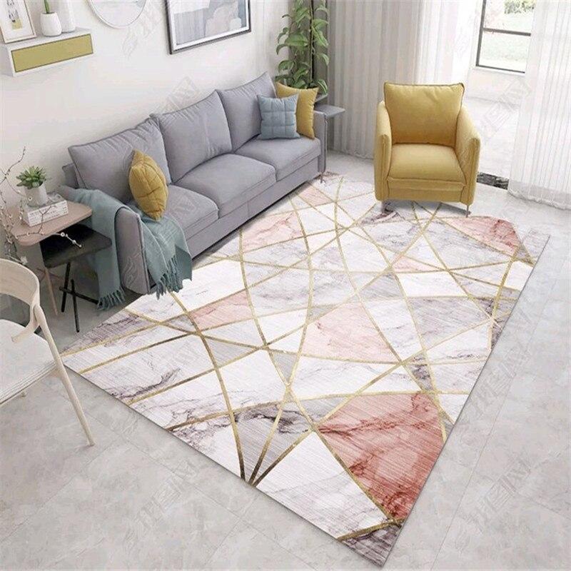 Tapis de série de rayure de marbre tapis simple nordique moderne de chambre à coucher et tapis pour le salon tapis de table basse tapis antidérapant de chevet