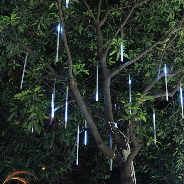 Waterproof LED Falling Rain Lights with 30cm 8Tube 136Leds Meteor ...