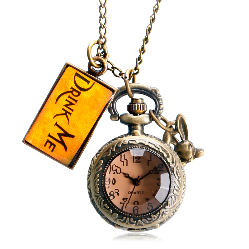 High Quality Retro Drink Me Tag Dark Brown Glass Gift Alice in Wonderland Rabbit Chain Necklace Pocket Watch Pendant Fashion Men heart shaped hollow alice in wonderland drink men tag pocket watch women ladies luxury pendant gift bronze fob watches