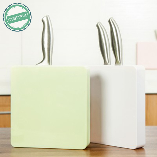 Kitchen Wall Mounted Pantry Storage Rack Organizer Knife Scissor Slot Holder Shelf Block Plastic Stand
