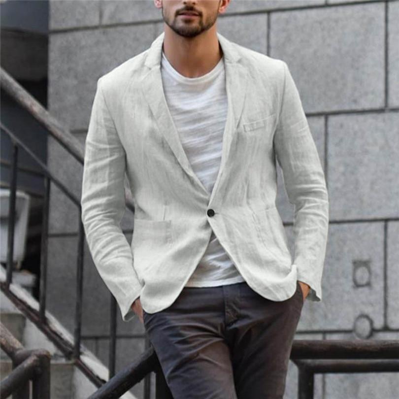 New 2019 Summer Men Slim Fit Linen Blend Casual Blazer Pocket Solid Long Sleeve Suits Blazer Jacket Outwear #E09 (21)
