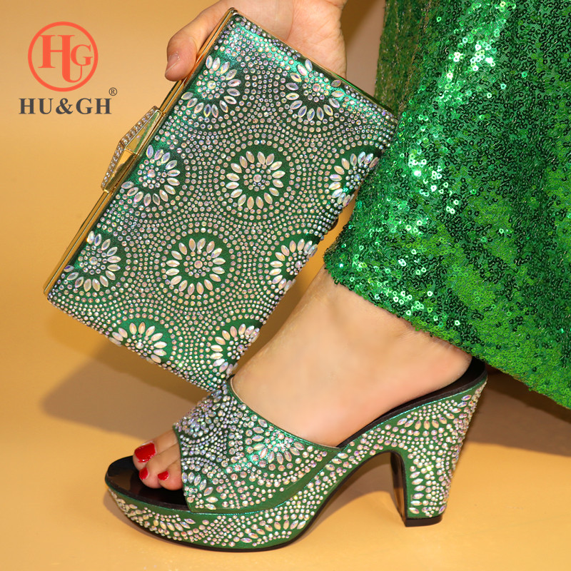 New Green Italian Shoes with Matching Bags for Wedding Women Shoe and Bag to Match for Party African Nigerian Shoes and Bag Sets college rcollege 369fg