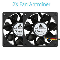 Binmer Cooling Fans 2x 6000RPM Cooling Fan Replacement 4 Pin Connector For Antminer Bitmain S7 S9