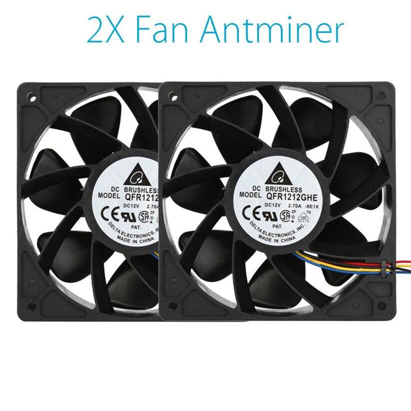 Binmer refrigeración Ventiladores 2x6000 rpm ventilador reemplazo 4-PIN conector para antminer bitmain S7 S9 td1229 dropship