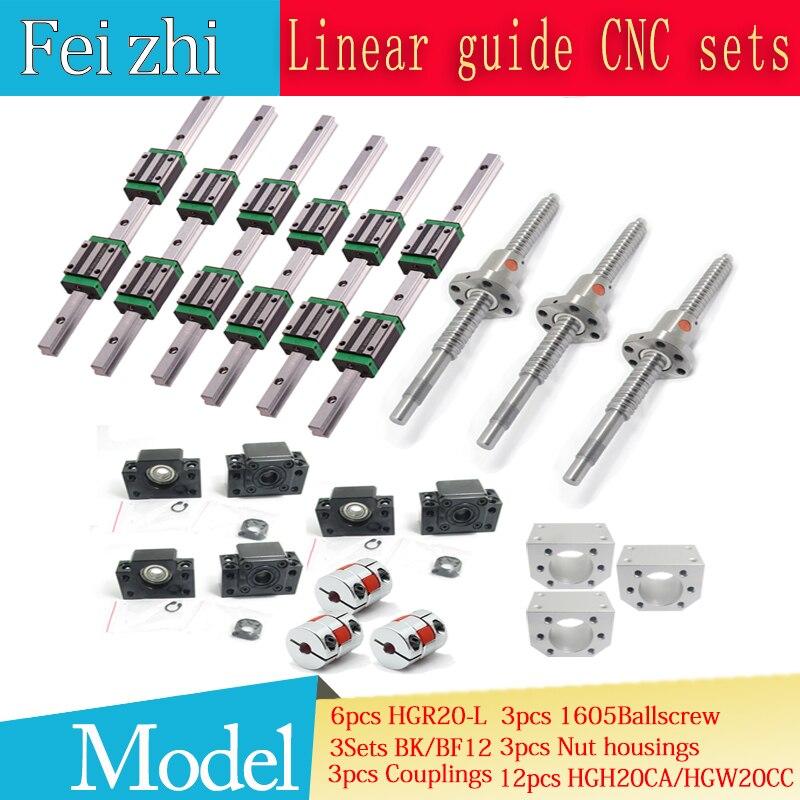 12 pcs HGH20CA Carré Linéaire guide ensembles + 3 pcs Vis À Billes SFU605-+ BK BF12 + jaw Accouplement Flexible prune Coupleur pour cnc