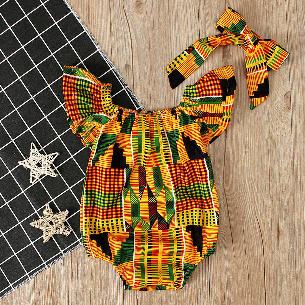 Infant Baby Girls African Print Off Shoulder Romper Hair Band Bodysuits Clothes