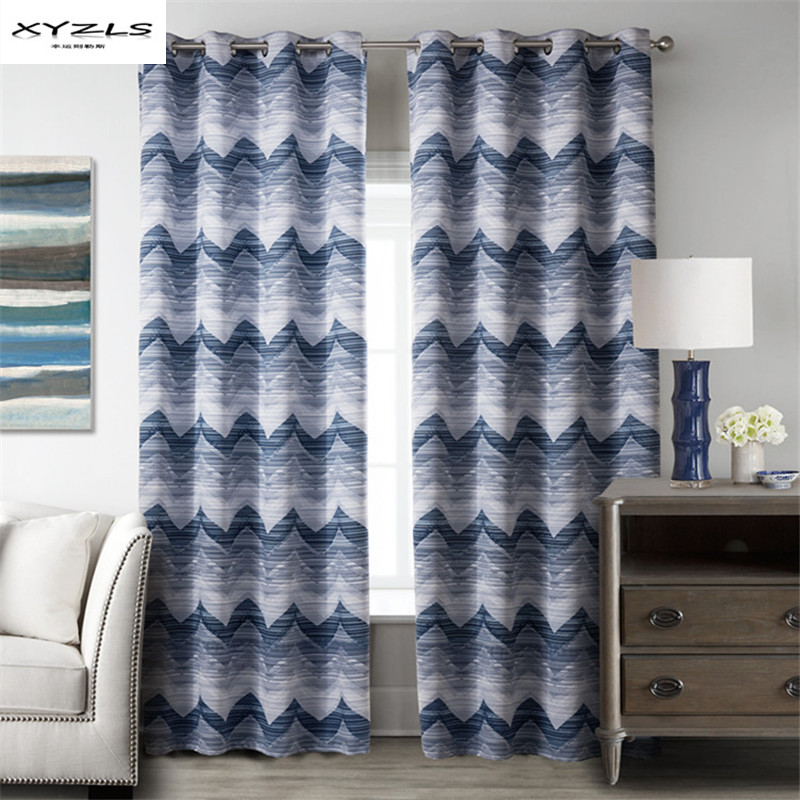 XYZLS Blue Blackout Curtain Wave Pattern Curtains For Living Room Bedroom  Kitchen Window Treatments Drapes With Eyelets 1Piece