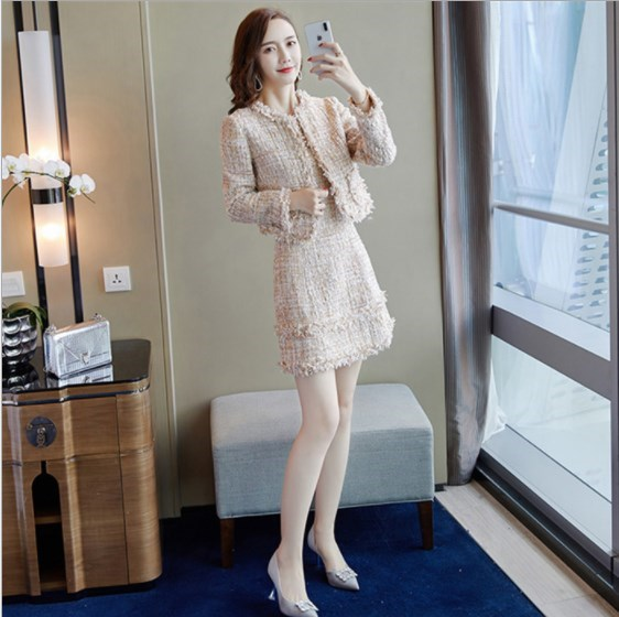 Women Spring Workwear Dress Suits Set Woman Office Wear Tweed Outfit Clothing Ladies Mini Dress And Short Jacket 2 Pieces Set