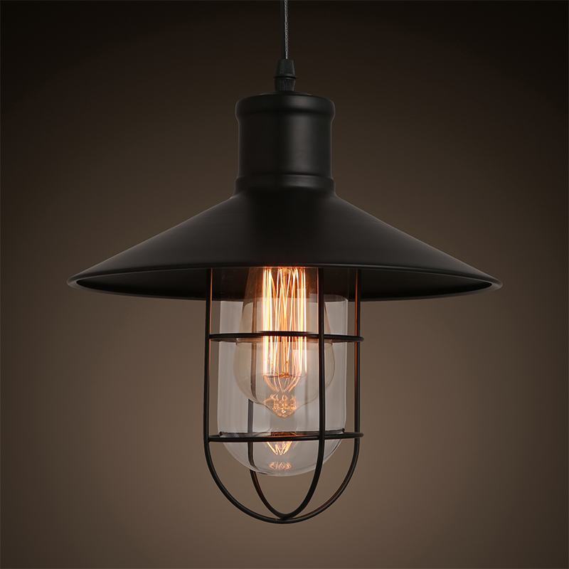 Loft RH Vintage Edison LED Bulb Iron Cage Glass Hanging Industrial Pendant Lamp Light Lighting E27/E26 110V/220V Guard Indoor vintage iron pendant light loft industrial lighting glass guard design cage pendant lamp hanging lights e27 bar cafe restaurant