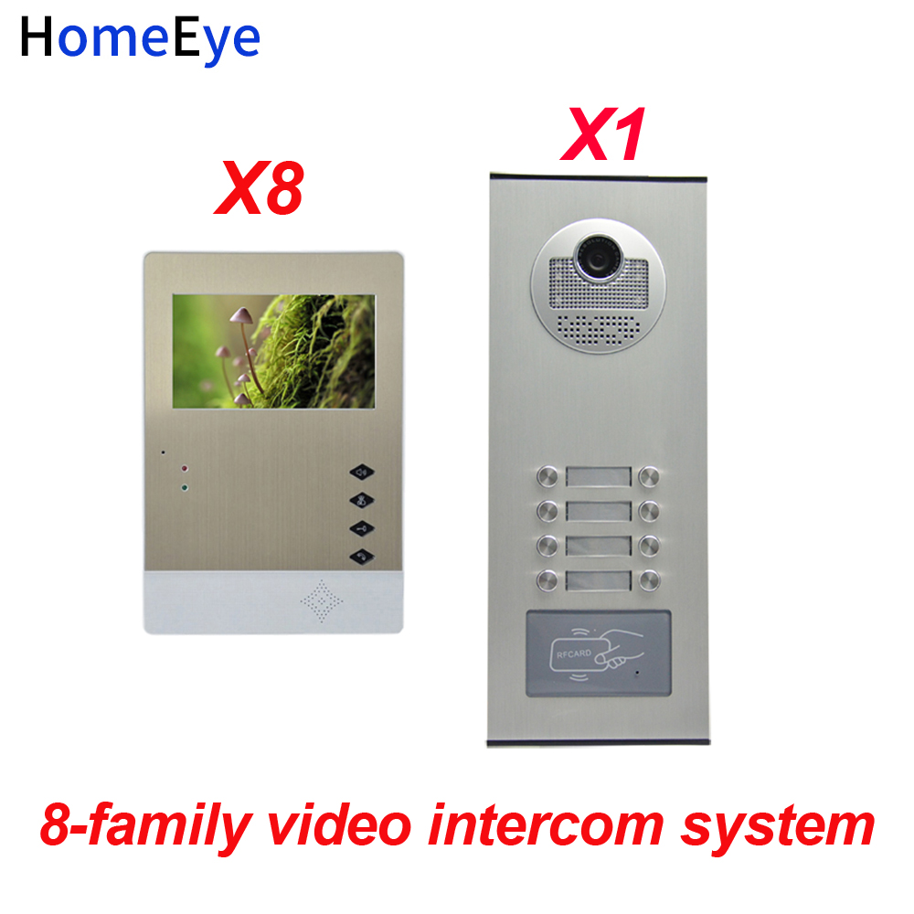 HomeEye 8 Families Door Bell Home Access Control System 4.3'' LTD 4-Wire Multi-family Multi Apartments Video Door Phone Intercom