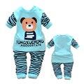 2 ШТ. детские мальчики девочки хлопок одежда топы + брюки наборы костюмы установить детская одежда весна осень Одежда для детей костюмы Медведь полоса