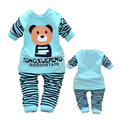 2 UNIDS bebé niños niñas ropa de algodón tops + pants trajes set ropa de bebé primavera otoño Ropa para bebés trajes de Oso de la raya