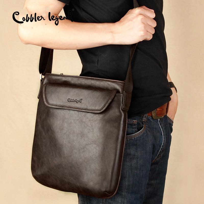 Cobbler Legend Brand Men Shoulder Bag Vintage Men Crossbody Bag Big Men Casual Fashion Solid Genuine Leather Men Messenger Bag недорого
