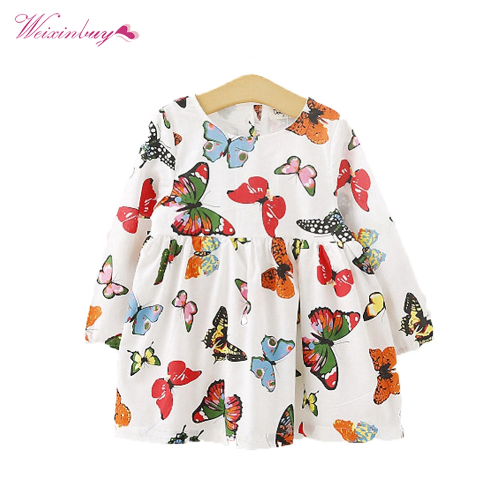 WEIXINBUY Baby Girls Dresses Clothing Stylish Baby Children Tunic Dress Toddler Girl Long Sleeve Butterfly Outfits 2-6 years